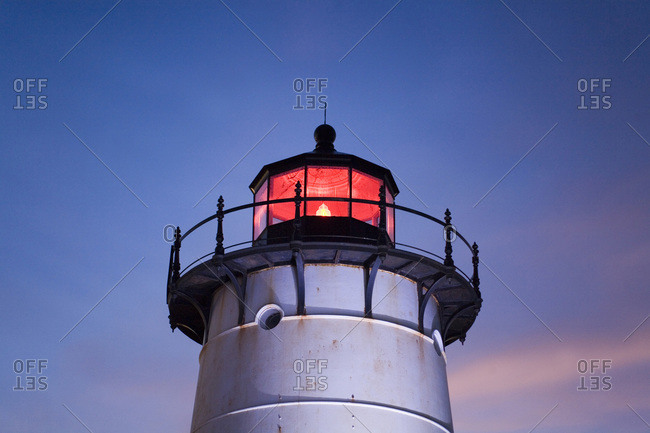 Close-up of the Edgartown Lighthouse in Edgartown