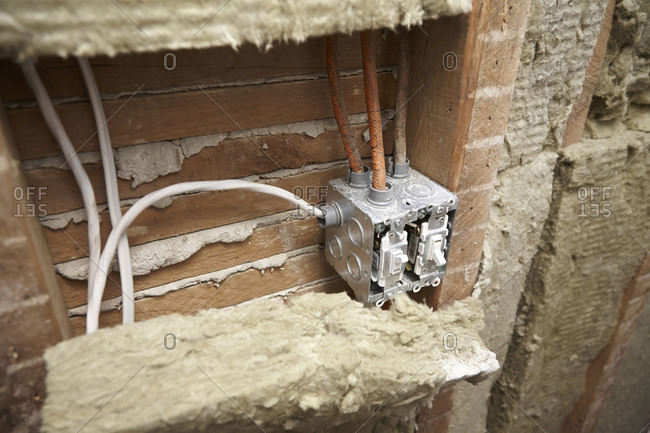 Light switch junction box and insulation in home under renovation