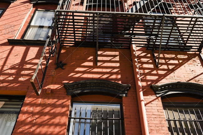 Fire escape on side of building, NYC