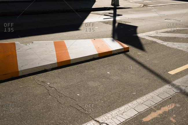 Traffic divider in street, NYC