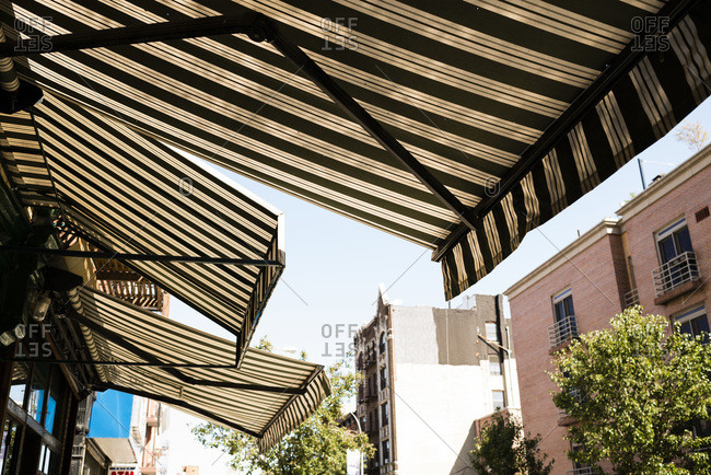 Awnings Hanging Over Restaurant Brooklyn New York City Stock Photo