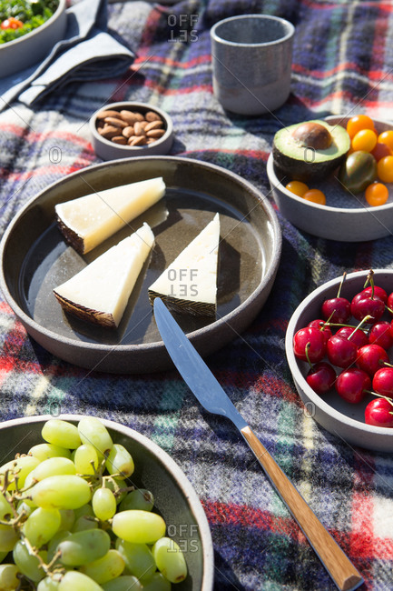 Food for a picnic on a wool blanket