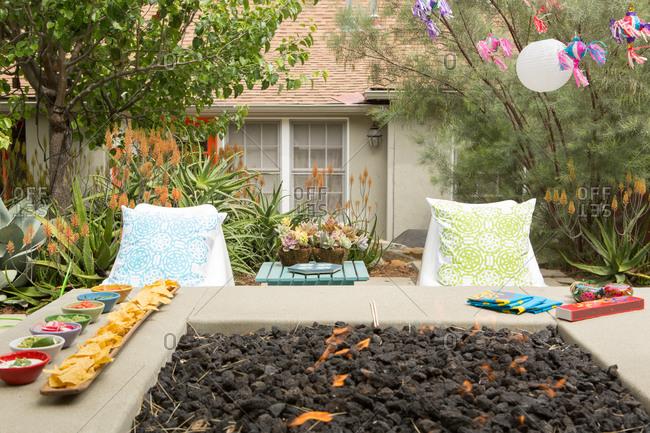 A backyard prepared for entertaining