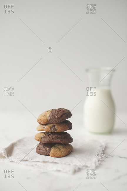 Cookies served with a bottle of milk