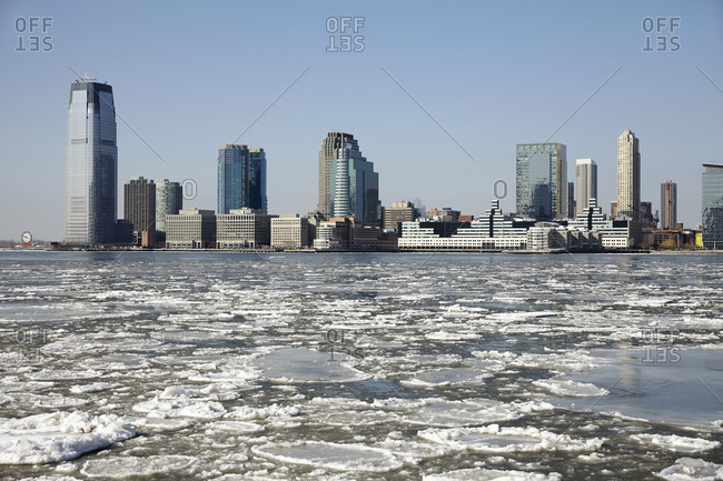 The icy Hudson river in Jersey City, New Jersey, USA
