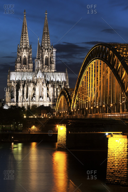 Cologne Cathedral at the Hohenzollern Bridge in Cologne, North Rhine-Westphalia, Germany