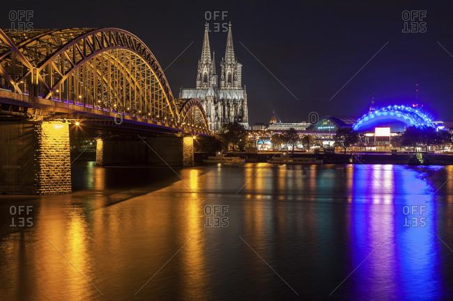 The Hohenzollern Bridge in Cologne, North Rhine-Westphalia, Germany