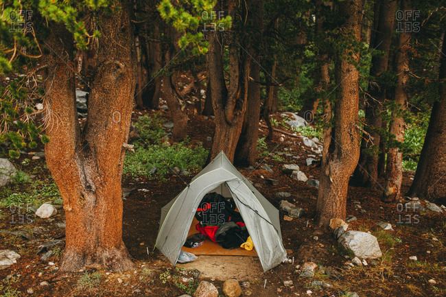 A campsite in the Sierra Nevada mountain range