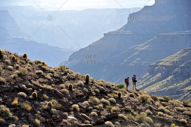 Hikers follow a route along the Colorado River that connect Tapeats Creek and Thunder River to Deer Creek in the Grand Canyon