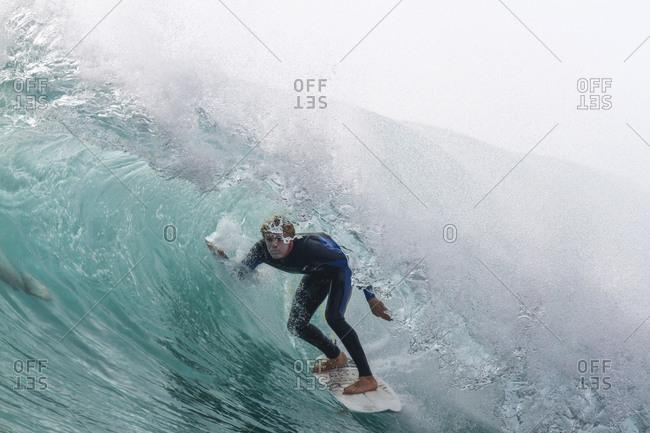 James Woods inside a tube or barreling wave Fuerteventura, Canary Islands