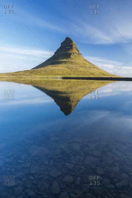 A reflection of Kirkjufell mountain on the Snaefellsnes peninsula in western Iceland