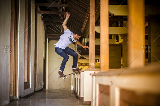 Skateboarding in deserted hotel, Bali, Indonesia