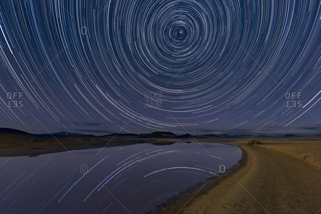 Star trails over Lunar Lake Playa, Remote Central Nevada Backcountry