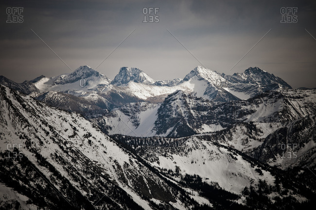 Snow covered mountains in the North Cascade Mountain Range