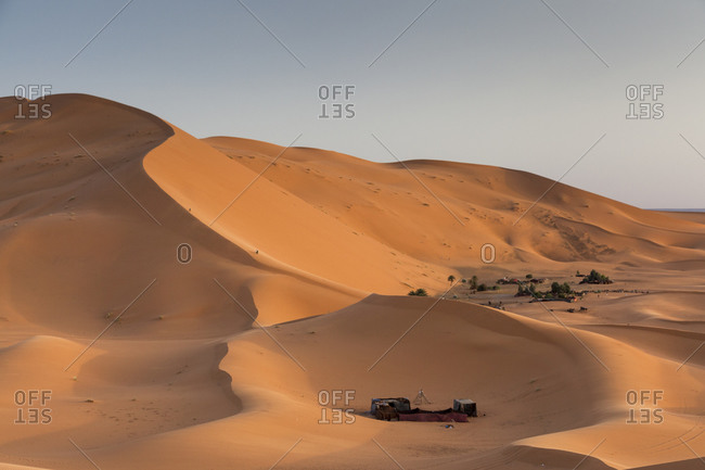 camp site in the Red sand dunes in the Sahara desert at Erg Chebbi, Merzouga Morocco
