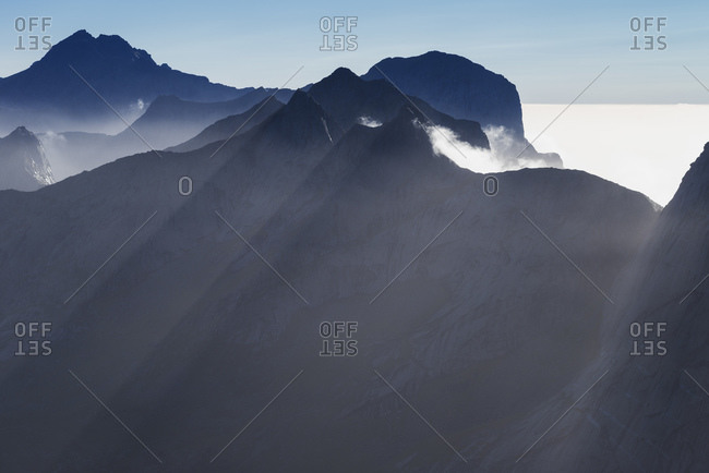 VIew across rugged mountain peaks from the summit of Branntuva