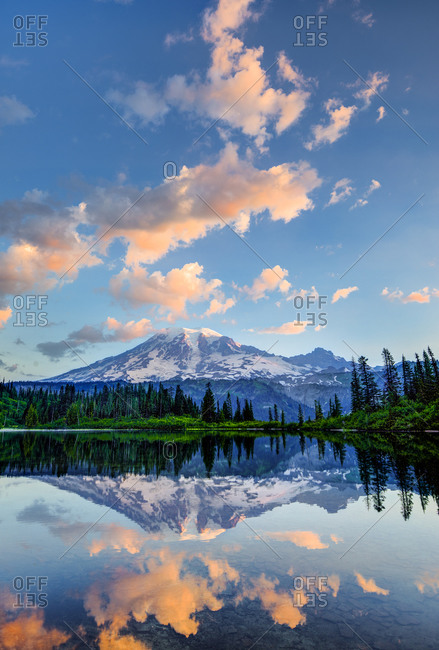 Mount Rainier reflected in lake at sunrise