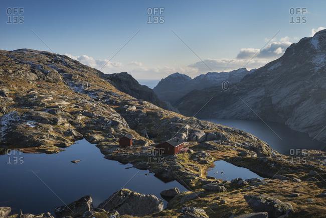View of Munkebu Hut, Moskenesøy, Lofoten Islands, Norway
