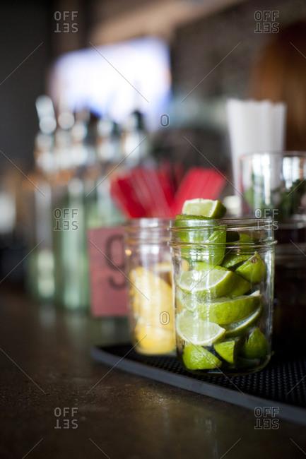 Drink garnishes sit the bar