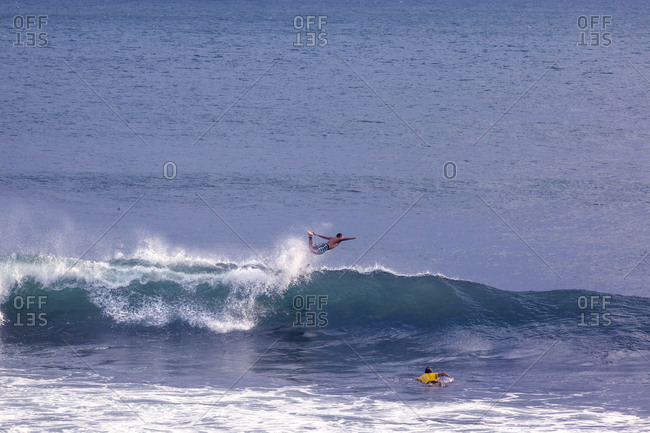 Surfer's wipeout, Bali, Indonesia