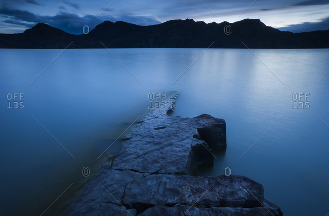 A long exposure along the shore of Lago Nordenskjöld in Chile's Torres del Paine