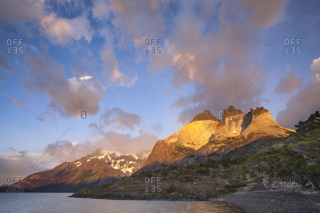 The Cuernos de Paine and Lago Nordenskjöld at sunrise in Chile's Torres del Paine National Park