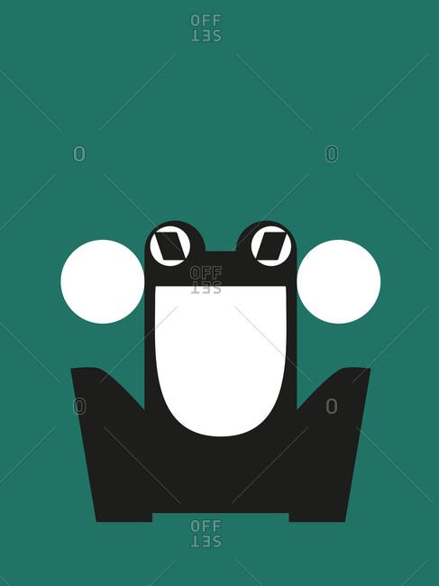 Black and white frog on green background