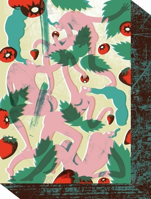 Naked people eating fruits in a forest
