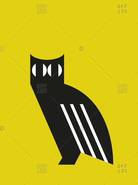 Illustration of an owl on yellow background