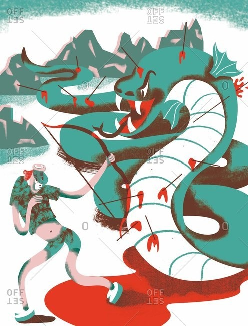 Person fighting a dragon
