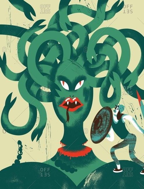 Person cutting off Medusa's head