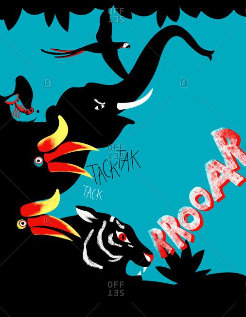 Illustration of roaring animals