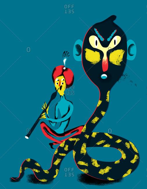 Illustration of a snake charmer