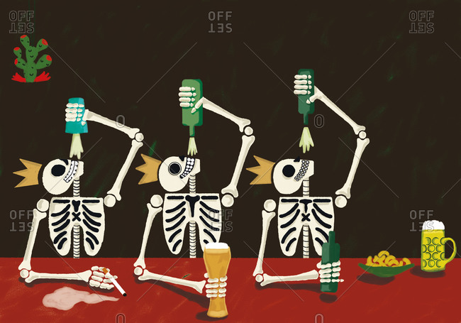 Skeletons drinking in a bar