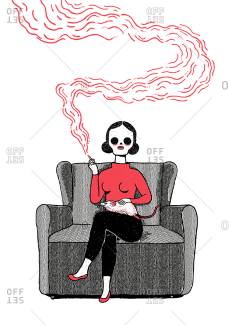 Skeletal woman smoking with rat