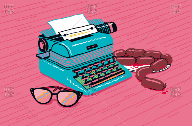 Typewriter, glasses, bloody sausage