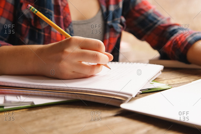 A girl takes notes in a notebook