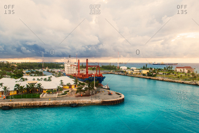 Harbor in the city of Freeport, Bahamas