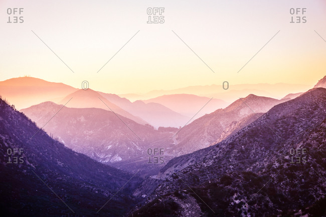Landscape of a misty mountain range