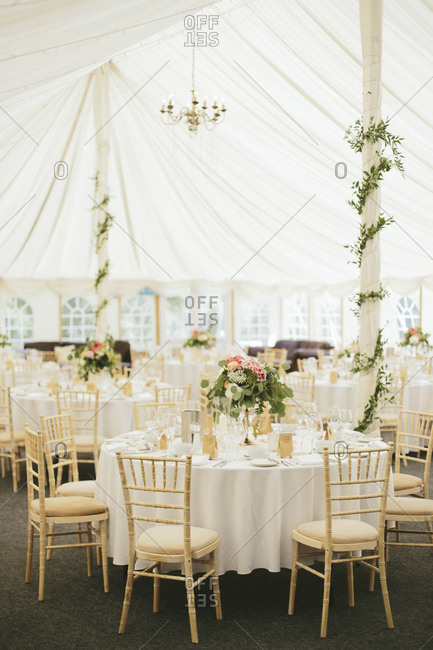 Elegant tent set-up for a wedding