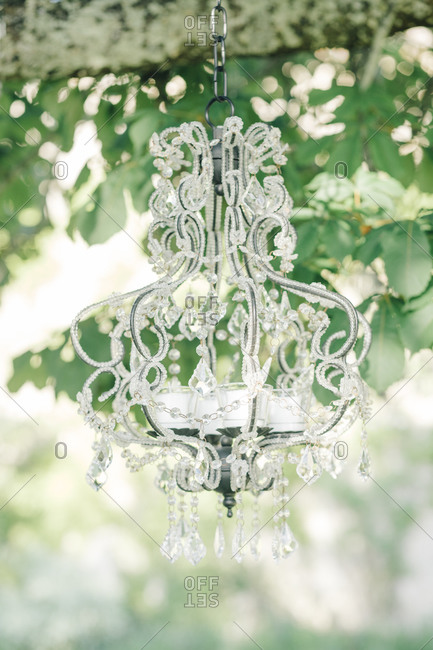 Crystal chandelier at a wedding