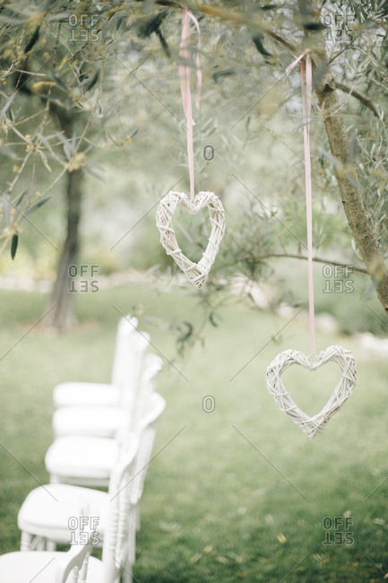 Heart shaped decorations at a wedding