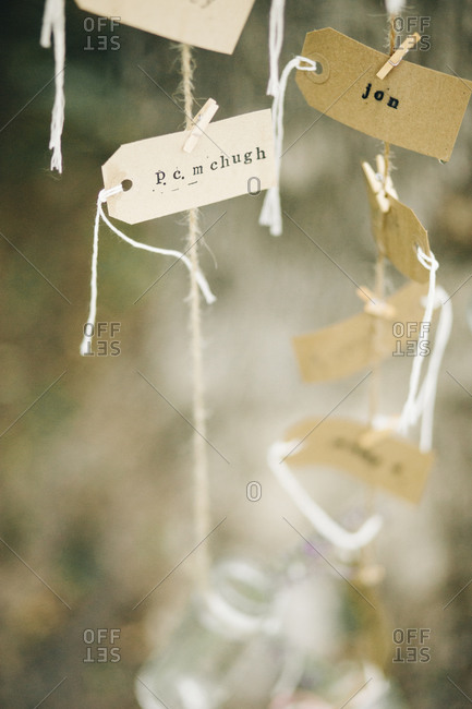 Place cards displayed at a wedding