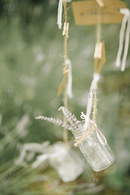 Hanging decorations at a wedding