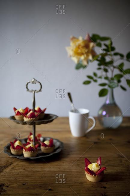 Cream and strawberry pastries