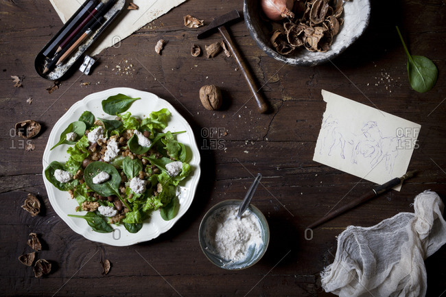 Spinach salad with spelt, pinto beans and a bowl of yogurt walnut dressing