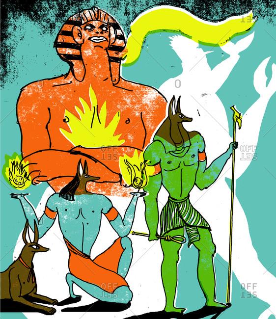 Illustration of Egyptian gods