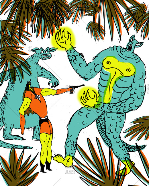 Man pointing a gun at a monster in a forest