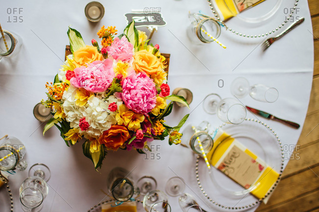 Bouquet of flowers on wedding reception table