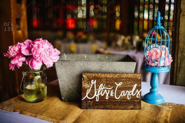 Card box table at wedding reception